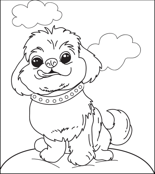 Printable Fluffy Puppy Dog Coloring Page for Kids – SupplyMe