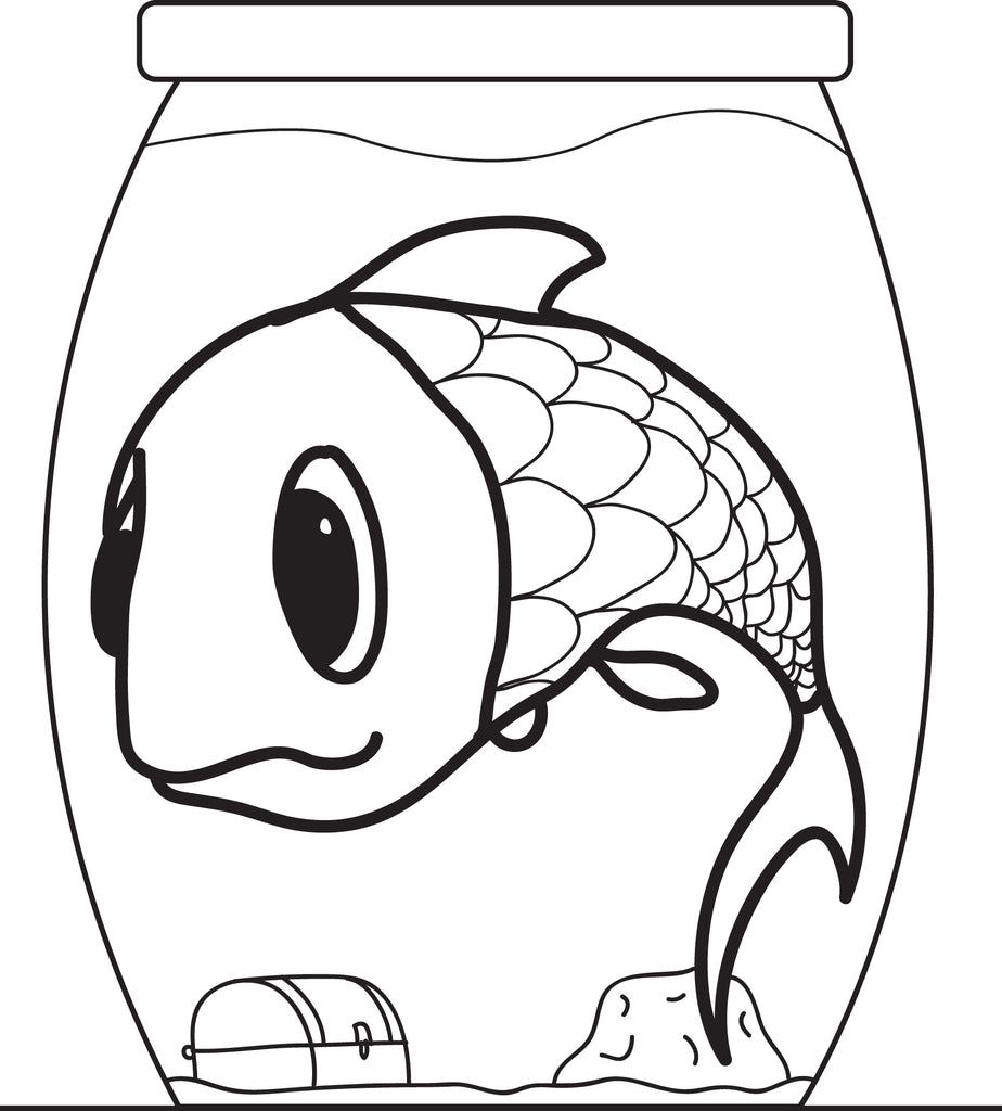 Free, Printable Cartoon Fish in a Fishbowl Coloring Page for Kids ...