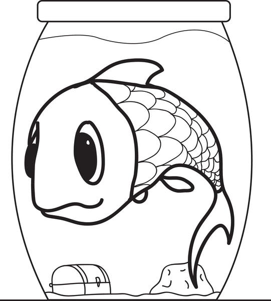 FREE Printable Cartoon Fish in a Fishbowl Coloring Page