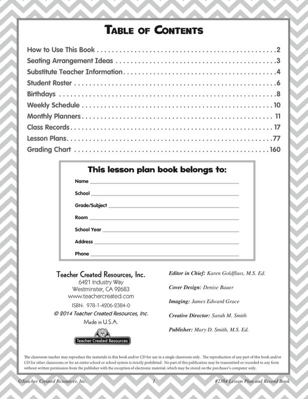 Lime Chevron and Dots Lesson Plan & Record Book