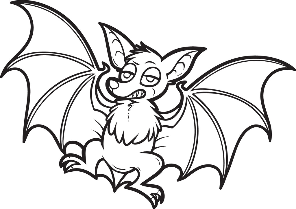 FREE Printable Cartoon Bat Coloring Page for Kids
