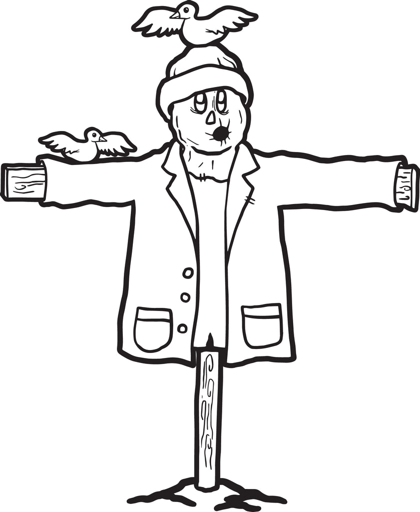 FREE Printable Scarecrow Coloring Page for Kids #1 – SupplyMe