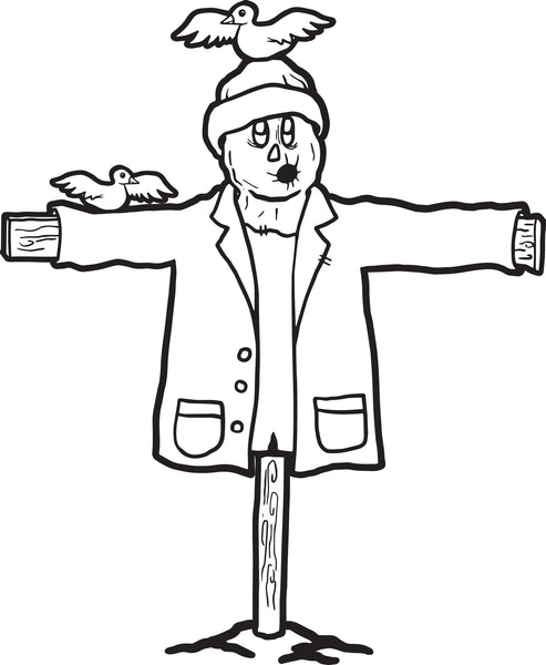 FREE Printable Scarecrow Coloring Page for Kids #1