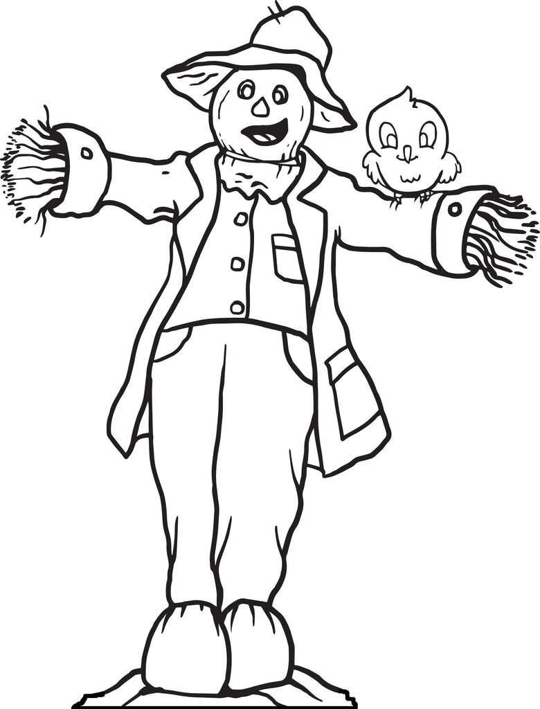 Printable Scarecrow Coloring Page For Kids 3 Supplyme