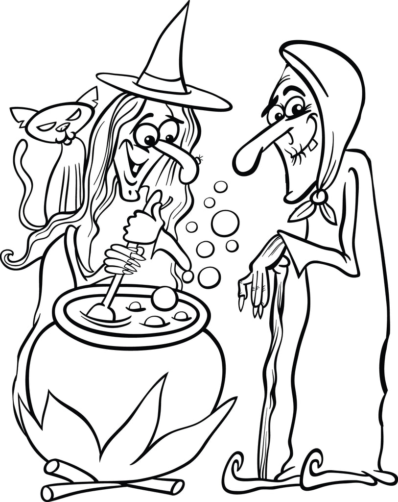 Printable Halloween Witches Coloring Page for Kids