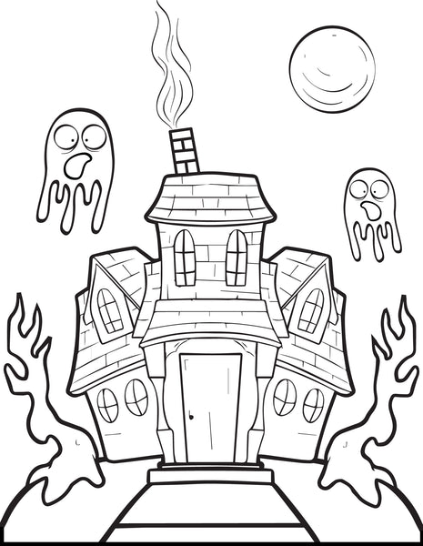 FREE Printable Halloween Haunted House Coloring Page for