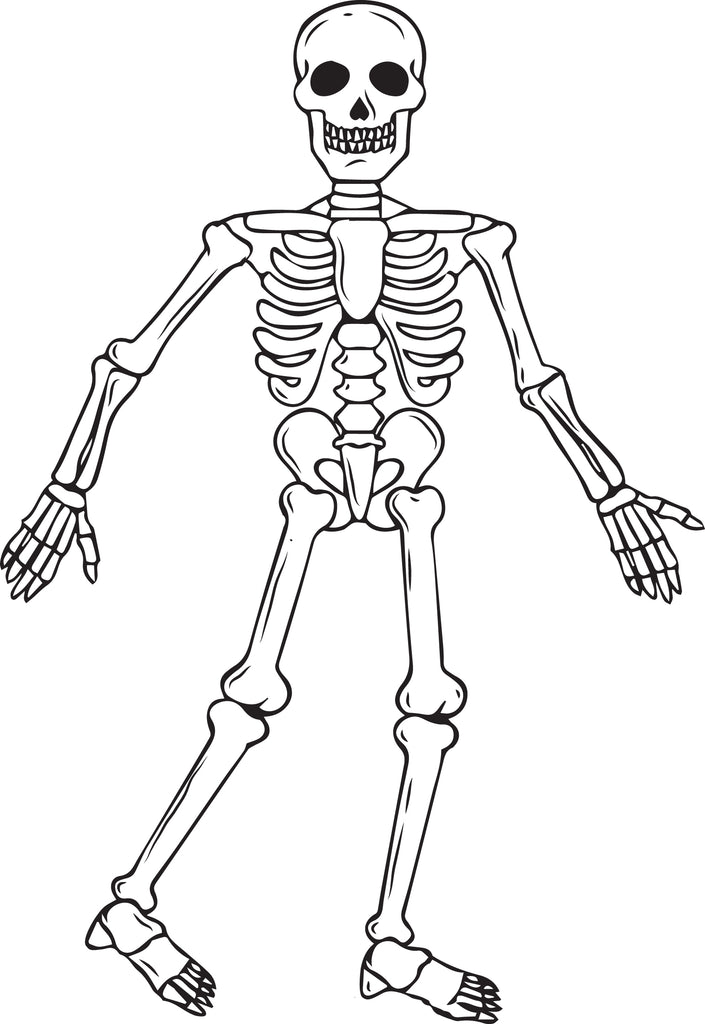 FREE Printable Skeleton Halloween Coloring Page for Kids