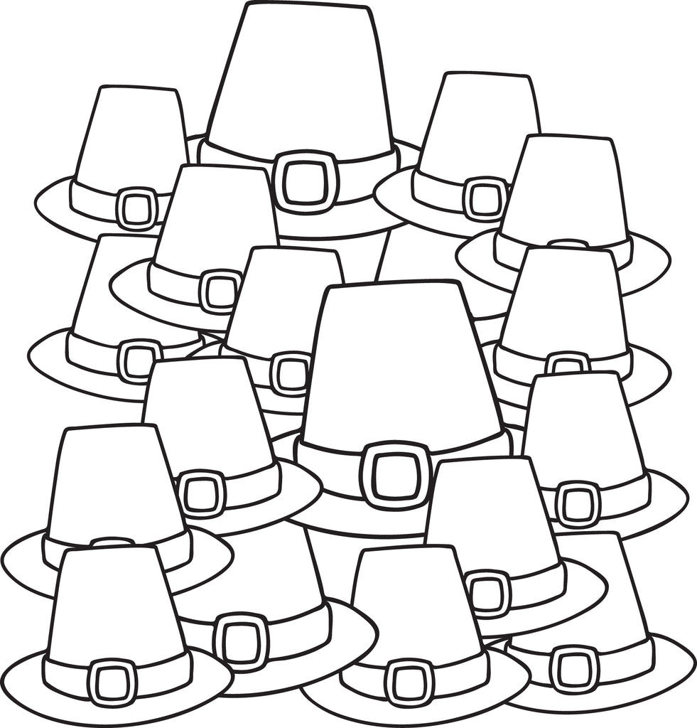 FREE Printable Pilgrim Hats Coloring Page For Kids