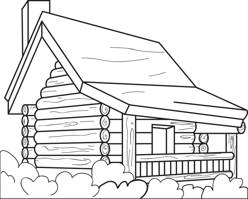 FREE Printable Log Cabin Coloring Page for Kids SupplyMe