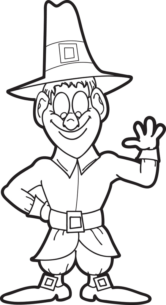 FREE Printable Pilgrim Coloring Page For Kids