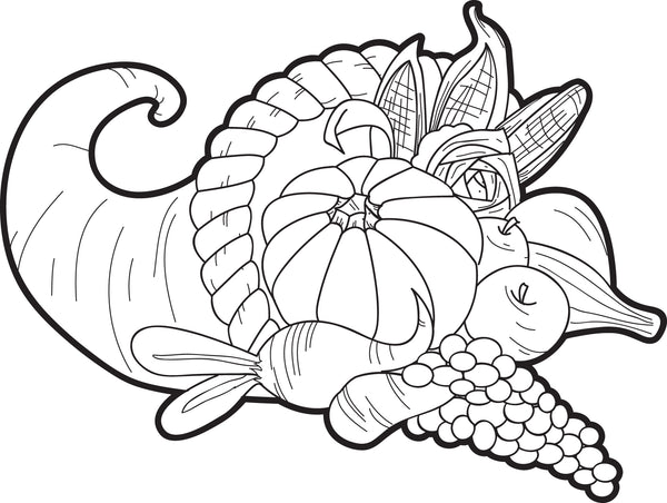 Dashing image with cornucopia coloring pages printable