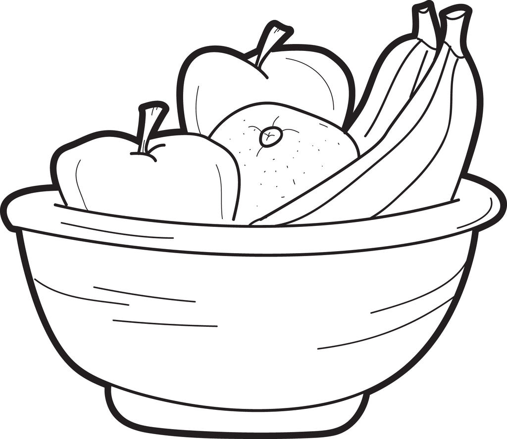 FREE Printable Bowl of Fruit Coloring