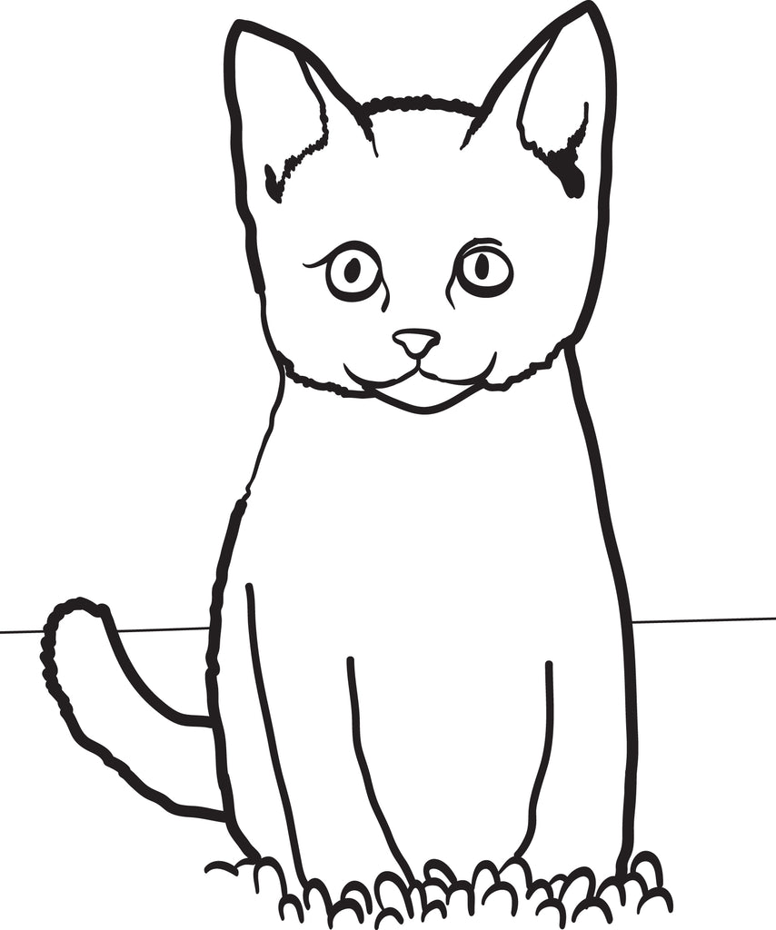 Cat Sitting in Grass Coloring Page