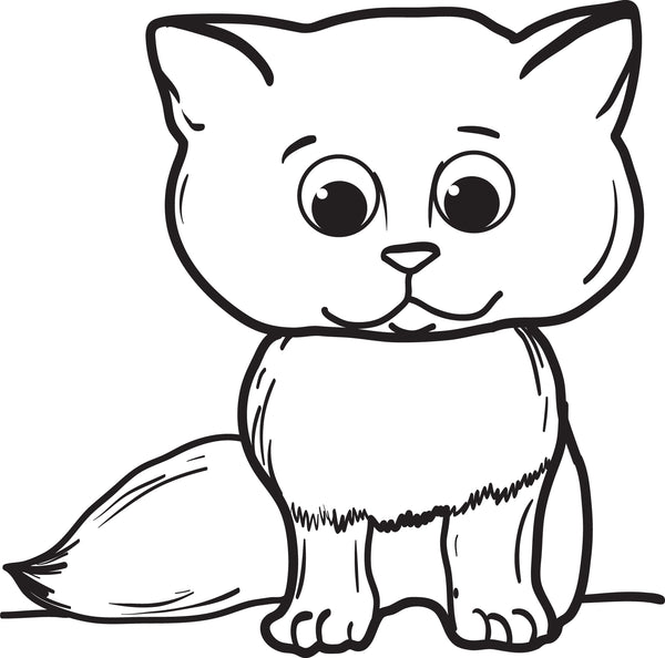 Printable Cartoon Cat Coloring Page For Kids – SupplyMe