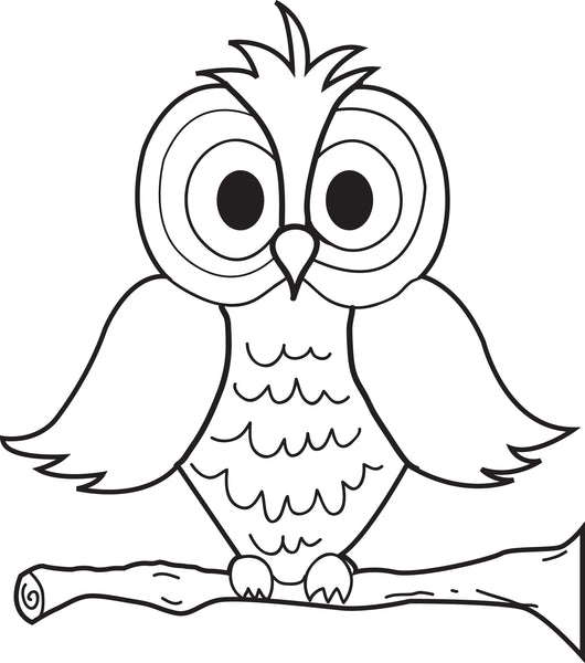 Free, Printable Cartoon Owl Coloring Page for Kids