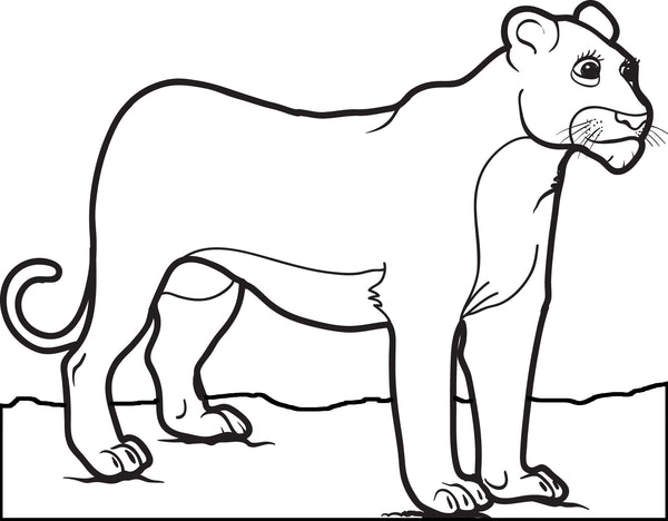 Free, Printable Female Lion Coloring Page for Kids