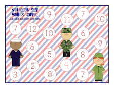 Veterans Day Roll & Cover Game Printable