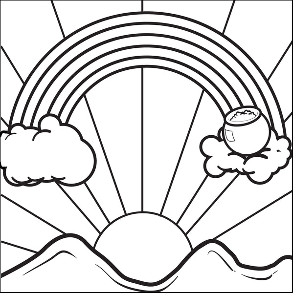 Free, Printable Rainbow With a Pot of Gold Coloring Page
