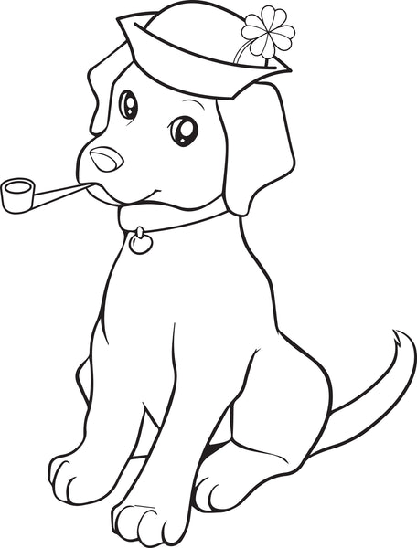 Free, Printable St. Patrick's Day Puppy Dog Coloring Page