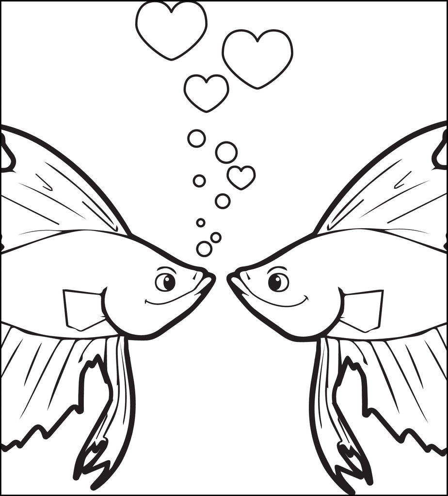 Kissing Fish Valentine's Day Coloring Page