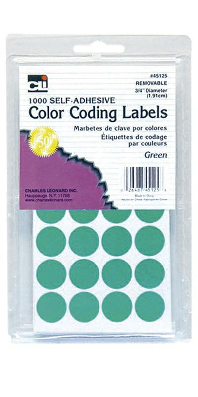 "Color Coding Dot Labels, 3/4"" Green"