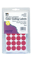 "Color Coding Dot Labels, 3/4"" Red"