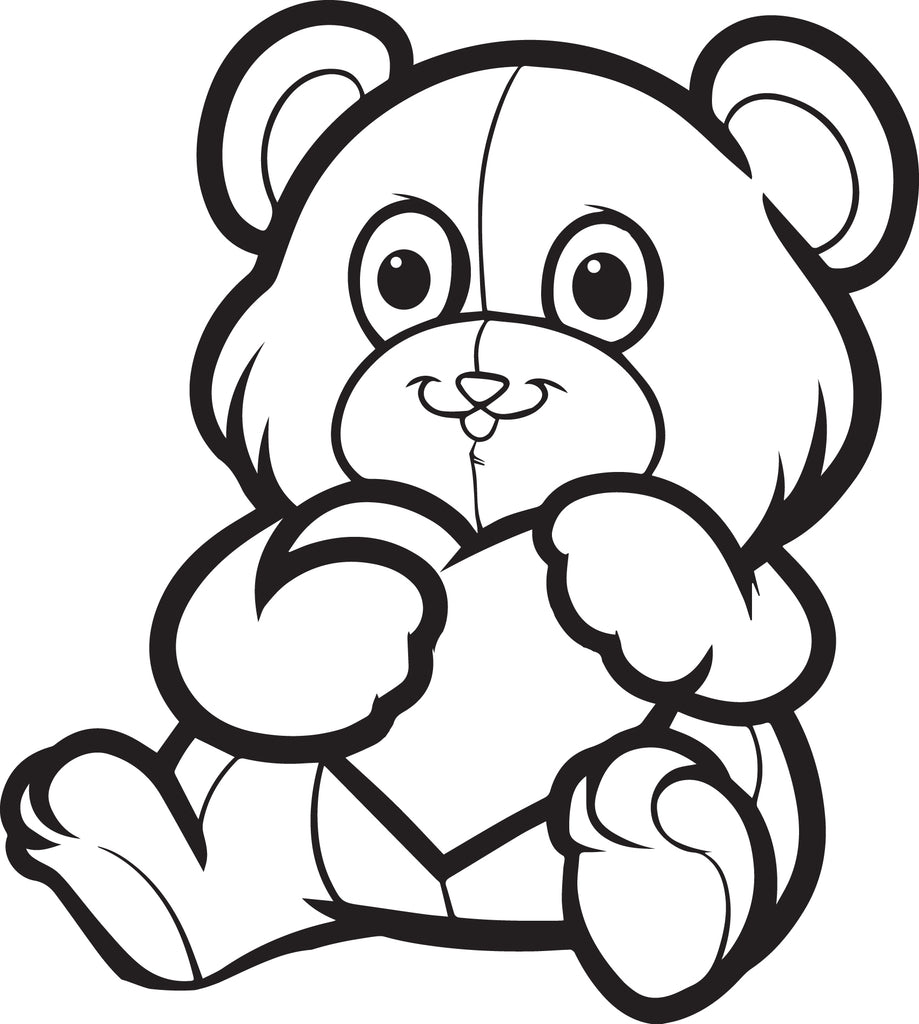 Valentine's Day Teddy Bear Coloring Page