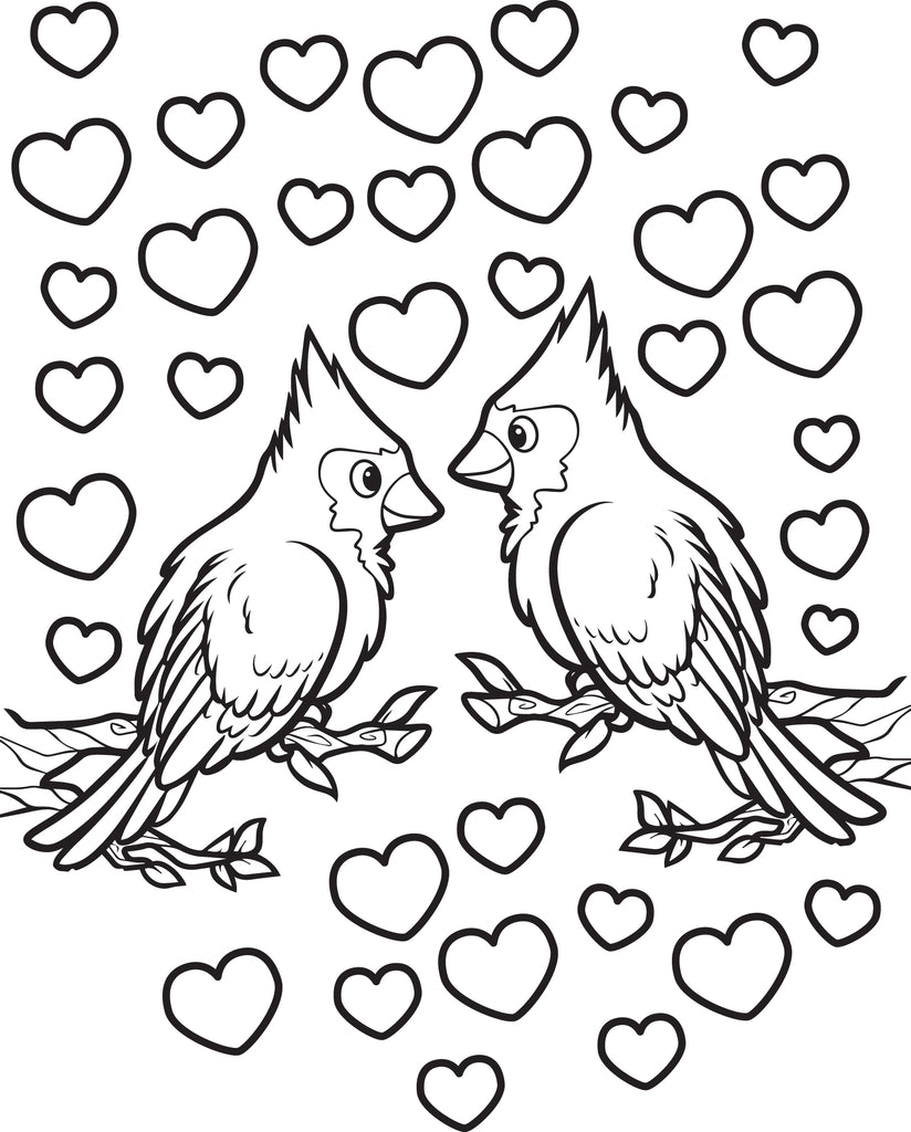 Love Birds Valentine's Day Coloring Page