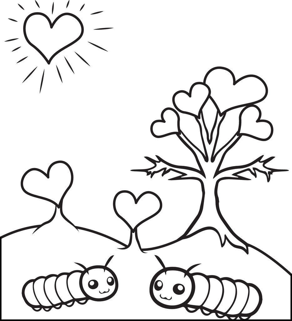 Caterpillars In Love Valentine's Day Coloring Page