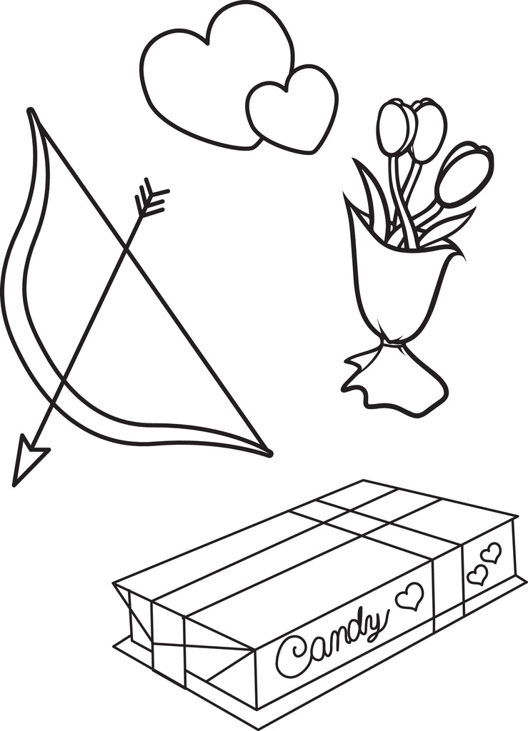 Valentine's Day Things Coloring Page