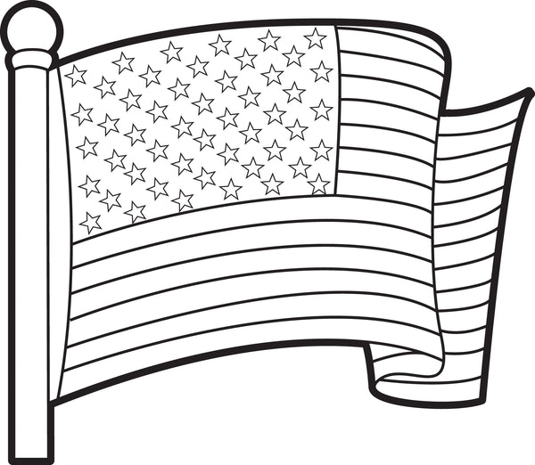 Free, Printable American Flag Coloring Page for Kids