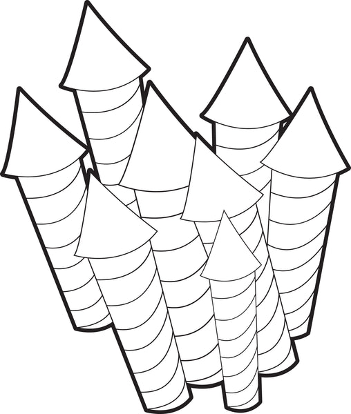 Free, Printable Fireworks Coloring Page for Kids