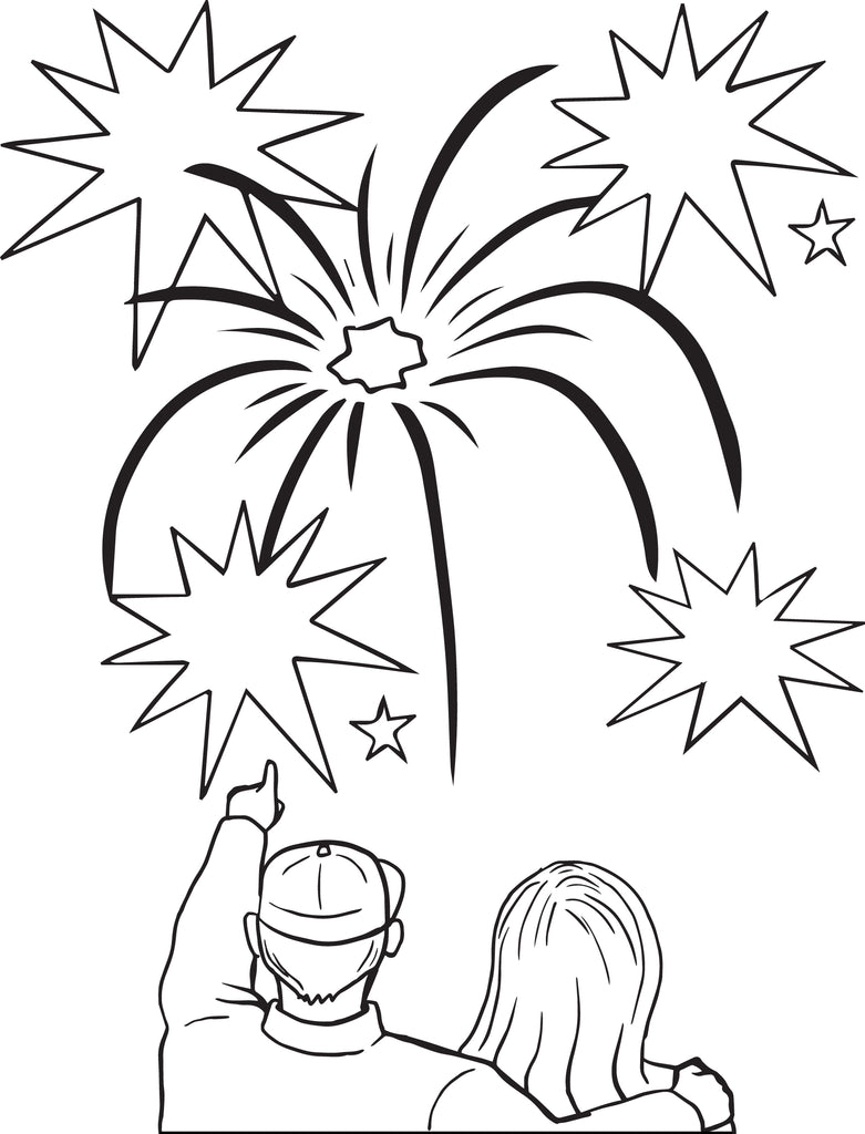 FREE Printable Fireworks Coloring Page for Kids #3 – SupplyMe