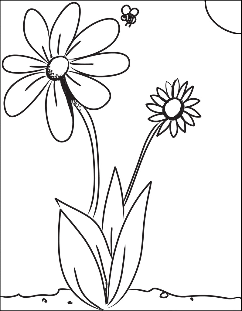 Flower and Bee Coloring Page