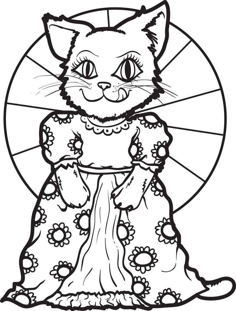 Cat Wearing a Dress Coloring Page