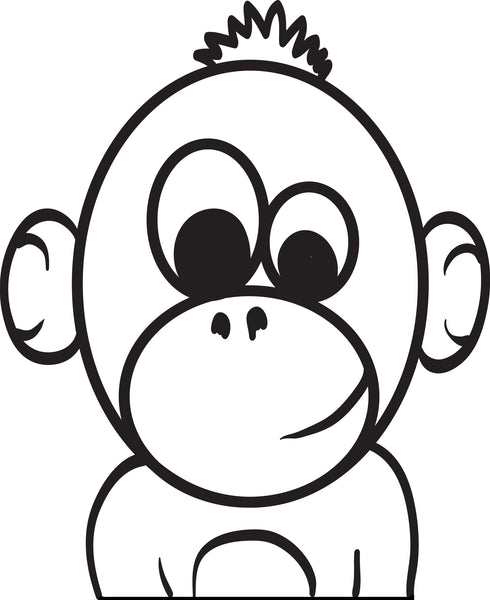 Free, Printable Baby Cartoon Monkey Coloring Page for Kids