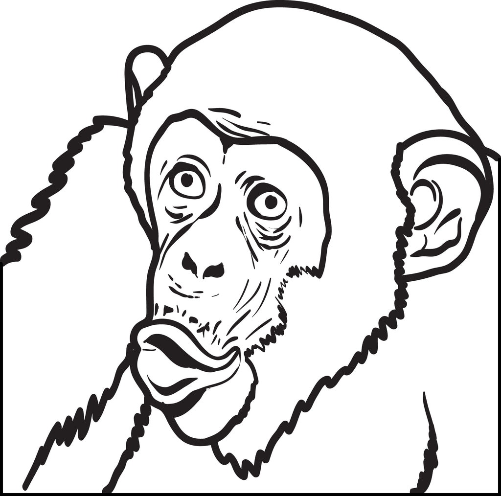 Free, Printable Chimpanzee Coloring Page for Kids #2 – SupplyMe
