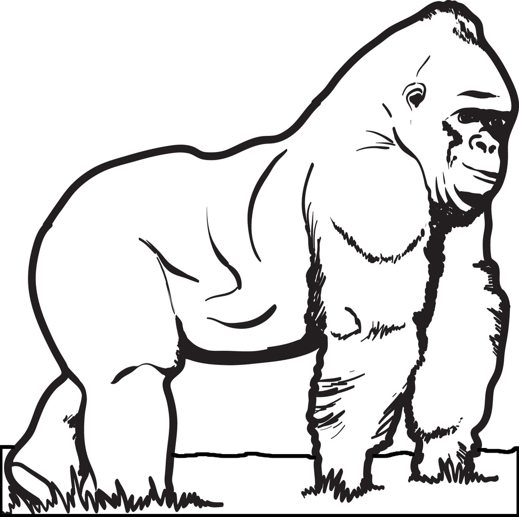 free printable gorilla coloring page for kids supplyme. Black Bedroom Furniture Sets. Home Design Ideas