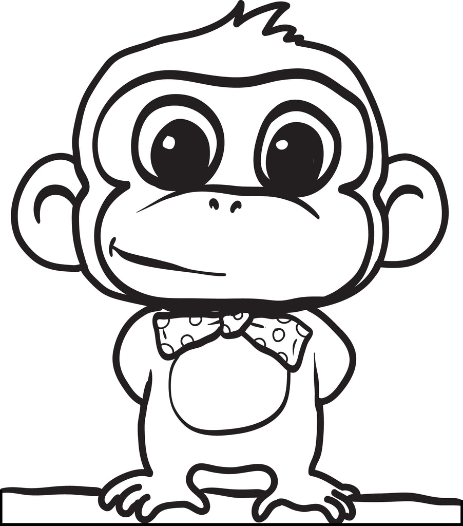 Free Printable Cartoon Monkey Coloring Page for Kids 2 SupplyMe
