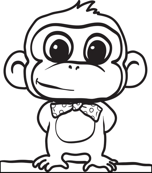 Printable Cartoon Monkey Coloring Page for Kids #2 - SupplyMe