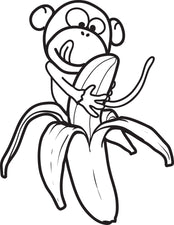 Cartoon Monkey Coloring Page #3
