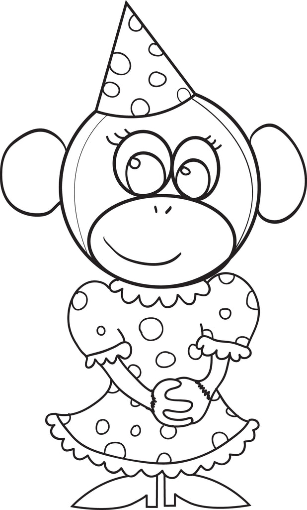 Free, Printable Cartoon Monkey Coloring Page for Kids #4 – SupplyMe