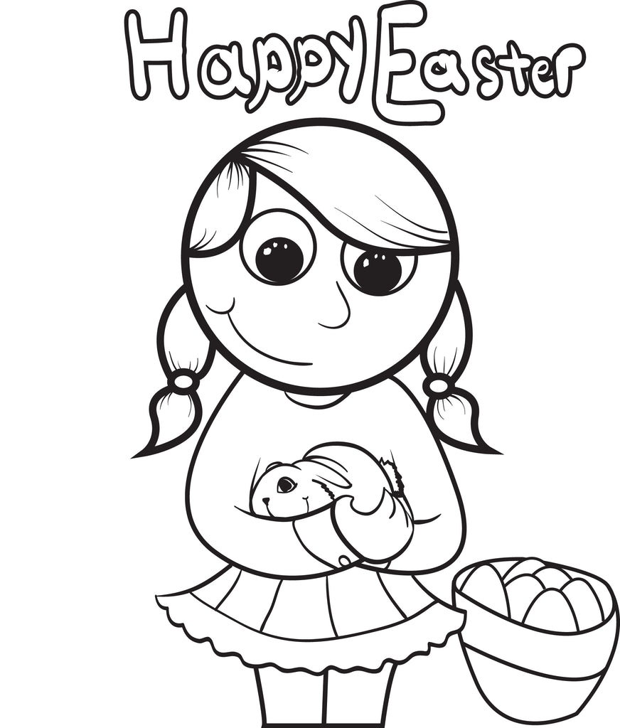 Girl Holding a Rabbit Easter Coloring Page