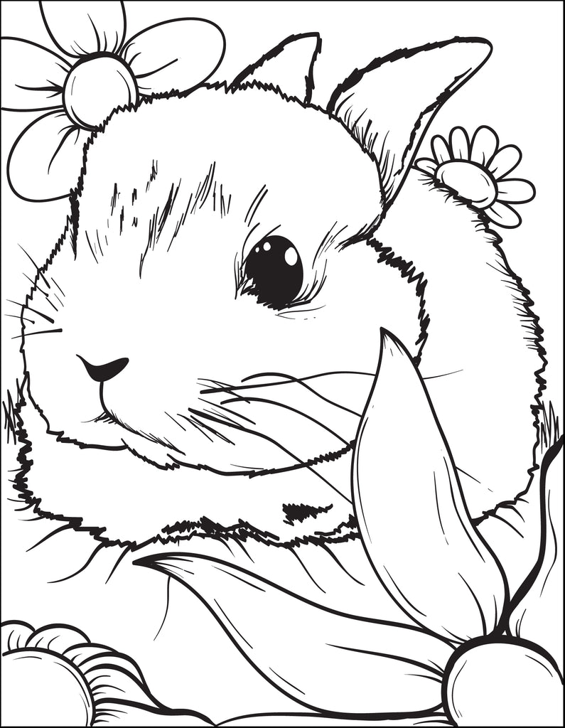 Printable Bunny Rabbit Coloring Page for Kids #3 - SupplyMe