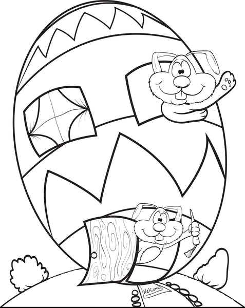 Free, Printable Easter Egg House Coloring Page for Kids