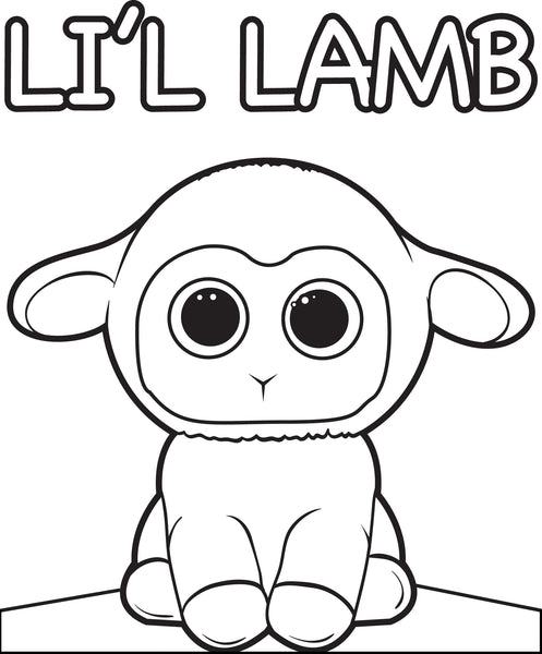 Free, Printable Cartoon Lamb Coloring Page for Kids