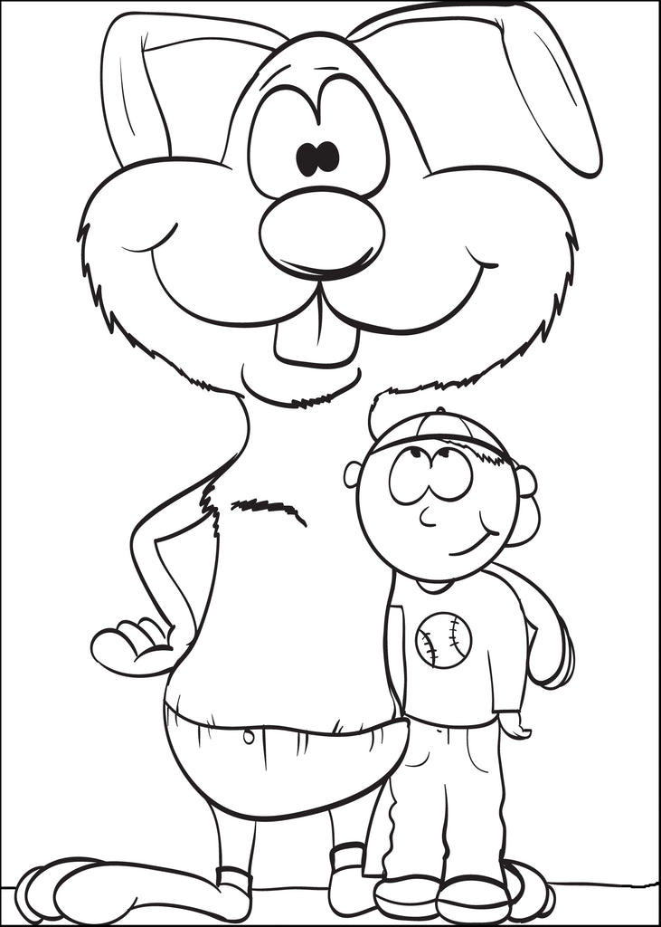 Coloring Page of a Bunny Standing With a Boy
