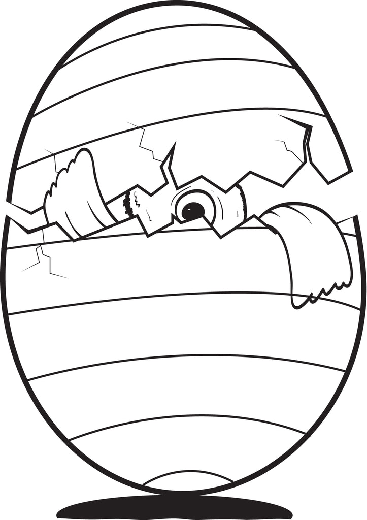 Hatching Chicken Egg Coloring Page