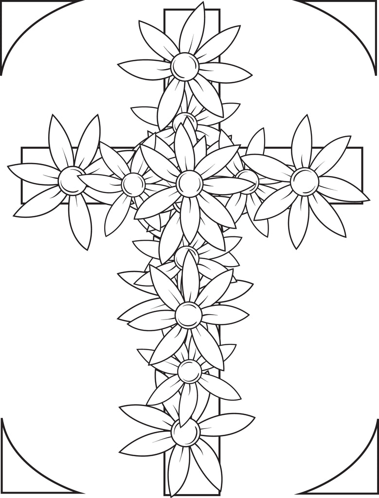 FREE Printable Cross With Flowers Coloring Page for Kids