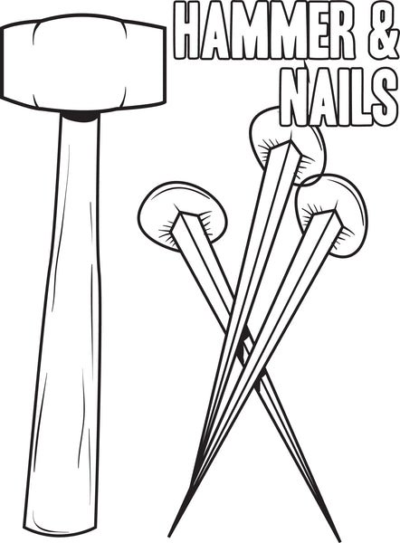 Free, Printable Hammer and Nails Crucifixion Coloring Page